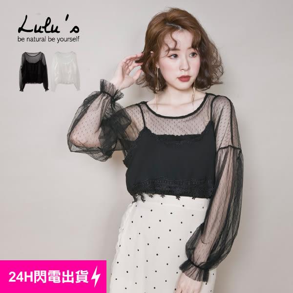 LULUS-P兩件式-細肩背心+點點網紗上衣-2色 現【01120937】