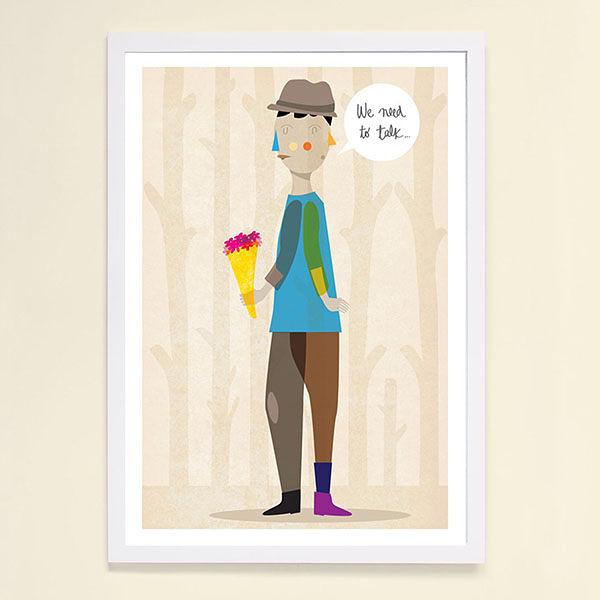 【摩達客】西班牙知名插畫家Judy Kaufmann藝術創作海報掛畫裝飾畫-我們需要談談(附簽名)(含木框)