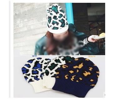 2015韓版豹紋點點冬天毛線帽子韓版女休閒捲邊針織帽秋季原宿風潮