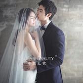 歐美簡約裸紗新娘韓式結婚婚紗頭紗超長素紗 全館免運