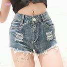 衣美姬♥歐美 夏季女牛仔短褲 屁股刷破 高腰透視 性感火辣 熱褲