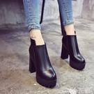 裸靴 春秋季女靴靴子厚底馬丁靴女鞋粗跟短靴高跟裸靴中筒靴 小天使 99免運