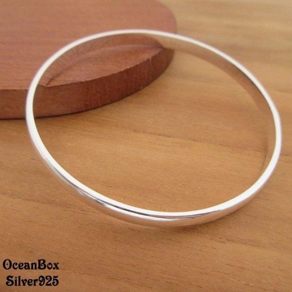 ☆§海洋盒子§☆簡約亮面素面寬度925純銀手環(無開口純銀手環.13cm以下小手圍) 《925純銀 》預購
