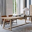 會議桌 美式loft全實木長條會議桌辦公桌長方形原木餐桌茶桌茶臺洽談桌椅【快速出貨】