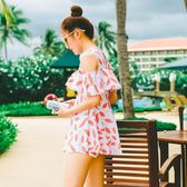 游泳衣女保守溫泉小胸聚攏分體裙式遮肚平角學生少女小清新遮手臂 東京衣櫃