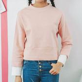 現貨-T恤-S~L雙層拼接配色袖素面上衣 Kiwi Shop奇異果【SPE6042】