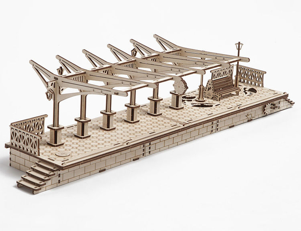 Ugears 自我推進模型 Railway platform 車站月台 DIY組裝精緻自走模型 齒輪機關