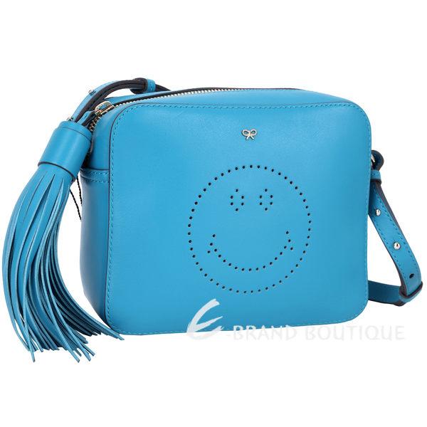 ANYA HINDMARCH Smiley 笑臉流蘇斜背包(藍色) 1620063-23