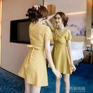 春季洋裝 2019夏天新款時尚氣質淑女格子A字裙收腰顯瘦連身裙溫柔風裙子女『小宅妮時尚』
