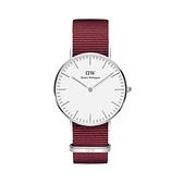 【Daniel Wellington】CLASSIC瑞典時尚品牌經典簡約尼龍腕錶-玫瑰紅x銀-36mm/DW00100272/原廠公司貨兩年保固