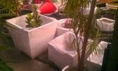 花盆-全新正方形素面- **水磨石盆(白色)** 40*40*40cm/ 水生,透水均可【花花世界玫瑰園】S