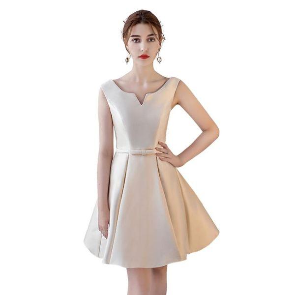 禮服 伴娘服 宴會晚禮服正韓優雅顯瘦短款 聚會派對連身裙