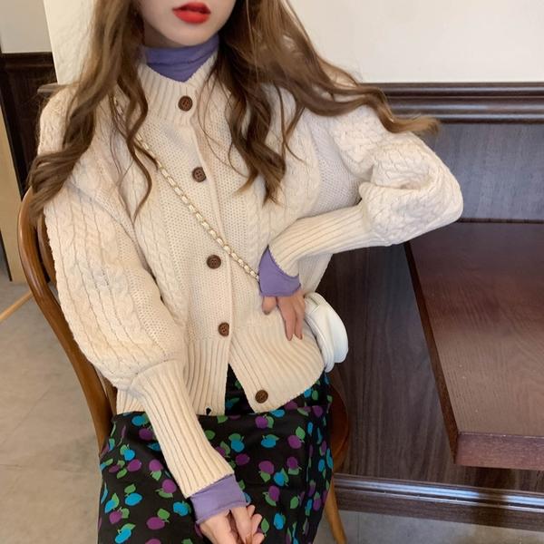 出清388 韓國慵懶風復古麻花針織毛衣單品外套