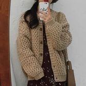 秋冬加厚保暖粗毛線復古百搭開衫毛衣外套(現貨)25421快時尚