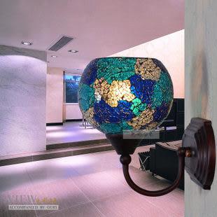 設計師美術精品館色彩燈飾燈具 馬賽克鐵藝壁燈鏡前燈 996-138鋼化深淺藍白