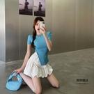 高腰顯瘦花苞半身裙女士夏季學生蓬蓬短裙子【聚物優品】
