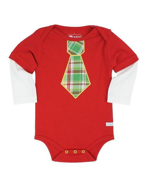 【美國 RuffleButts】長袖純棉包屁衣- 格紋領帶小紳士 B1KRDXX-HALS