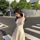 吊帶洋裝女 韓版甜美新款超仙氣質V領露背蕾絲打底溫柔仙女裙  蜜拉貝爾