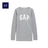Gap女裝 Logo印花長袖圓領T恤 495487-亮麻灰色