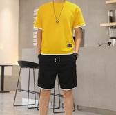 短袖t恤男士夏季新款上衣服潮流套裝青年休閒運動五分褲寬鬆 深藏blue
