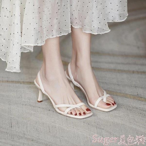 中跟涼鞋 涼鞋2021年新款女夏仙女中跟細跟網紅超火小眾設計氣質法式高跟鞋