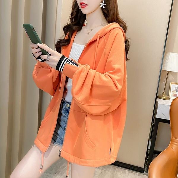 【YOUNGBABY中大碼】袖拼接羅紋叮噹口袋連帽織衣外套.共2色