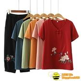 兩件式棉麻褲裝 中老年人夏裝女媽媽裝短袖T恤60-70歲80老人衣服女棉麻奶奶裝套裝【happybee】