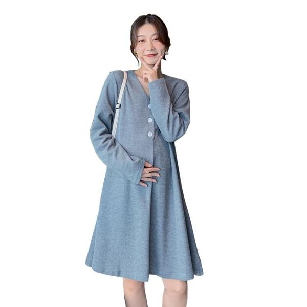 孕婦裙子 秋裝套裝時尚款洋氣冬季寬松孕婦連衣裙外出可哺乳裙子春款【快速出貨八折鉅惠】