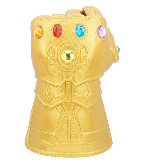 〔小禮堂〕漫威英雄Marvel薩諾斯 寶石手套造型陶瓷存錢筒《金》擺飾.撲滿.儲金筒 4942423-24870
