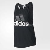 adidas 背心 Essentials Linear Loose Tank 黑 白 運動 基本款 無袖上衣 女款【PUMP306】 B45743