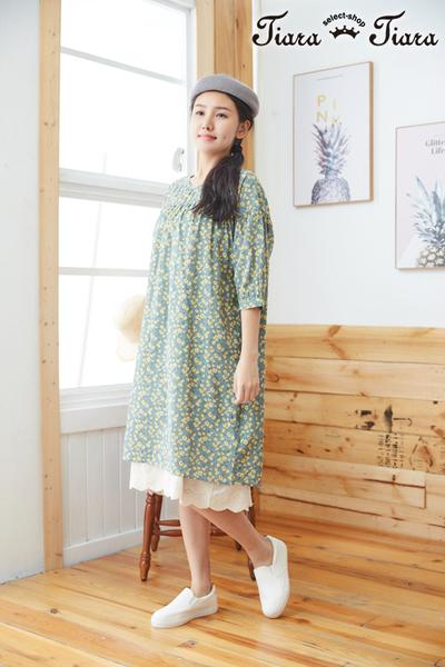 【Tiara Tiara】百貨同步aw 田園風小雛菊印花5分袖洋裝(綠/黃)