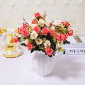 室內擺設歐式仿真花束套裝客廳裝飾假花家居飾品擺件塑料花卉盆栽【小梨雜貨鋪】