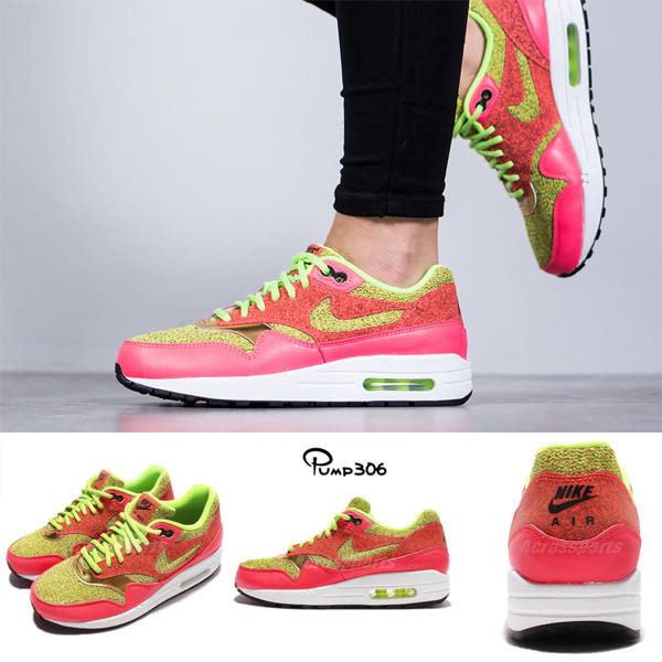 【四折特賣】Nike 休閒慢跑鞋 Wmns Air Max 1 SE 粉紅 綠 氣墊 女鞋 運動鞋 【PUMP306】 881101-300