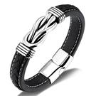 《 QBOX 》FASHION 飾品【L21N1151】精緻個性歐美創意結繩鋼線鈦鋼扣頭皮革手鍊/手環