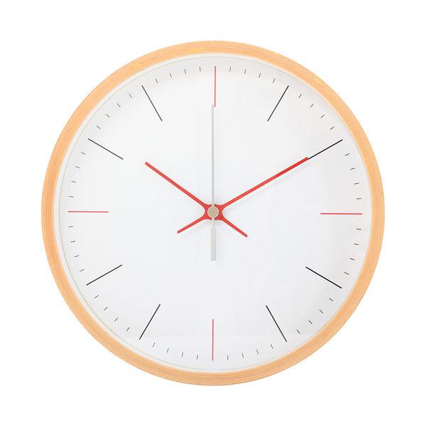 Lovel 20cm日系木質靜音時鐘 -紅灰原木(W723FD-NT)