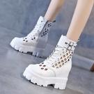 短靴網紅馬丁靴女2021年夏季新款薄款鏤空透氣網靴短靴厚底內增高涼靴