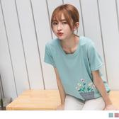 《AB12871》台灣製造.可愛小花刺繡休閒棉質上衣/T恤 OrangeBear