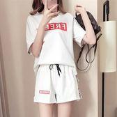 EASON SHOP(GU7132)韓版套裝正反英文字母印花圓領短袖棉T恤側邊撞色英文字母槓槓抽繩綁帶運動休閒裝
