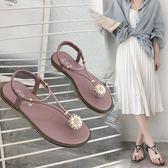 夾腳涼鞋夏季新款波西米亞百搭學生女鞋子 JD3819【123休閒館】