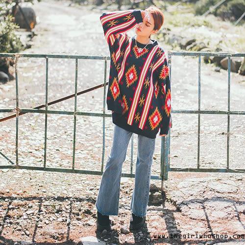 波希米亞風圖騰針織寬鬆毛衣【AC112218X1】THEGIRLWHO那女孩