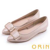 ORIN 優雅輕熟 全真皮造型方釦尖頭低跟鞋-粉紅