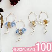 耳圈-甜美簡約水晶水滴幾何圓環金屬曲線時尚耳圈Kiwi Shop奇異果0821【SVE4133】