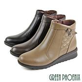 U15-20B69 女款全真短靴 翻領繞踝方型水鑽菱格紋全真皮小坡跟短靴/馬靴【GREEN PHOENIX】