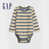 Gap嬰兒 布萊納小熊系列 時尚撞色條紋圓領長袖包屁衣 599832-白底條紋