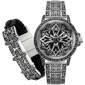 【台南 時代鐘錶 POLICE】義式潮流 十字圖騰強烈風格腕錶 手環套組 15530CRS-SET3 黑/銀 46mm
