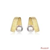 耳環 高級感耳環新款潮法式韓國氣質復古金屬耳釘女網紅仿珍珠耳飾 快速出貨