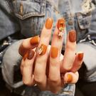 假指甲成品美甲貼片指甲貼片 直接戴南瓜色光療封層甲油膠 店慶降價