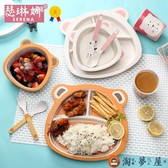 寶寶餐具套裝兒童卡通餐盤嬰兒輔食碗學吃飯分格盤【淘夢屋】