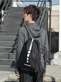 束口袋男抽繩後背包運動健身房包簡易輕便拉繩書包女訓練籃球背包 韓國時尚週