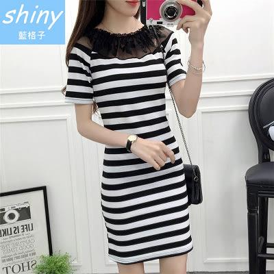 【V8138】shiny藍格子-女韓範潮.網紗拼接修身顯瘦短袖連身裙